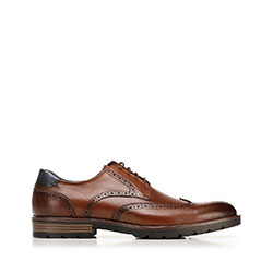 Leather brogue shoes, brown, 92-M-504-5-39, Photo 1