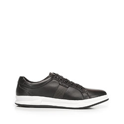 Rubber sole leather trainers, black, 92-M-510-1-39, Photo 1
