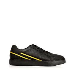 Męskie sneakersy ze skóry z kontrastowymi paskami, czarno - żółty, 92-M-511-1-44, Zdjęcie 1