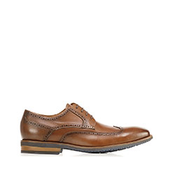 Men's leather brogues with contrasting sole, brown, 92-M-550-5-40, Photo 1