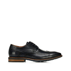 Men's leather brogues with contrasting sole, dark navy blue, 92-M-550-7-43, Photo 1