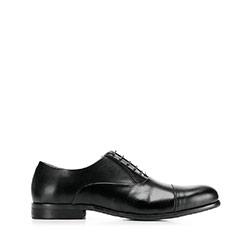 Męskie oksfordy skórzane klasyczne, czarny, 92-M-552-1-43, Zdjęcie 1