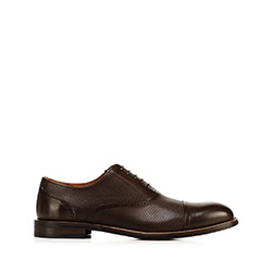 Men's dress shoes in embossed leather, brown, 92-M-553-4-44, Photo 1
