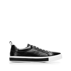 Men's perforated leather trainers, black-white, 92-M-901-1-45, Photo 1