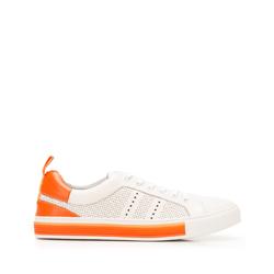 Męskie sneakersy skórzane z perforacjami, biało-pomarańczowy, 92-M-901-O-45, Zdjęcie 1