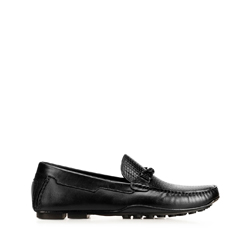 Men's leather driver loafers with woven detail, black, 92-M-905-1-45, Photo 1