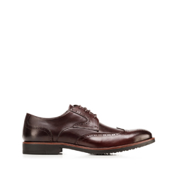 Men's leather derby brogues, dark brown, 92-M-907-2-43, Photo 1