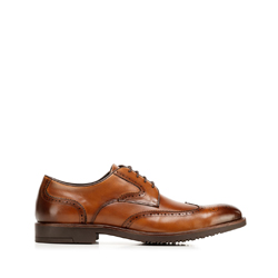 Men's leather derby brogues, light brown, 92-M-907-5-43, Photo 1