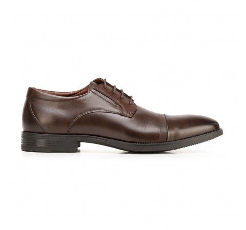 Męskie buty do garnituru z tłoczonym detalem, Brązowy, 92-M-908-4-43, Zdjęcie 1