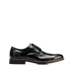Leather dress shoes with punch hole detailing, black, 92-M-909-1-40, Photo 1