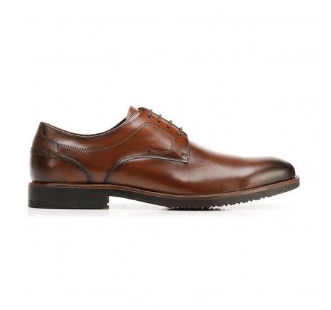Buty do garnituru skórzane z dziurkowanym wzorem, Brązowy, 92-M-909-1-39, Zdjęcie 1