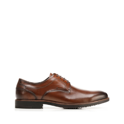 Leather dress shoes with punch hole detailing, brown, 92-M-909-5-44, Photo 1