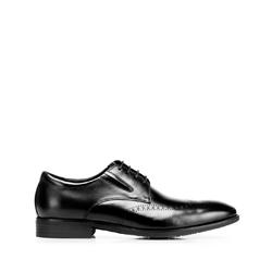 Buty do garnituru skórzane derby z elastycznymi wstawkami, czarny, 92-M-910-1-45, Zdjęcie 1