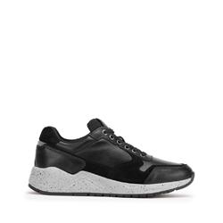 Męskie sneakersy ze skóry na grubej podeszwie, czarny, 93-M-300-1-43, Zdjęcie 1