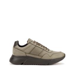 Męskie sneakersy z wegańskiej skóry ze wstawką lizard, khaki, 93-M-301-Z-42, Zdjęcie 1
