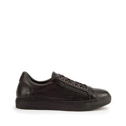 Męskie sneakersy ze skóry o kroju trampek, czarny, 93-M-501-1-40, Zdjęcie 1