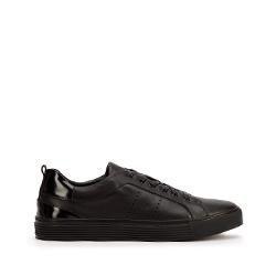 Męskie sneakersy skórzane z lakierowaną wstawką, czarny, 93-M-502-1-44, Zdjęcie 1