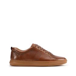 Męskie sneakersy skórzane z motywem plecionki po bokach, brązowy, 93-M-503-4-45, Zdjęcie 1