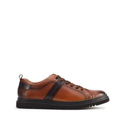 Męskie sneakersy skórzane na ciemnej podeszwie, brązowy, 93-M-505-4-39, Zdjęcie 1