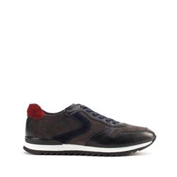 Męskie sneakersy skórzane wielokolorowe, szaro - granatowy, 93-M-508-N-44, Zdjęcie 1