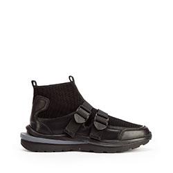Męskie sneakersy skórzane ze skarpetą, czarny, 93-M-903-1-41, Zdjęcie 1
