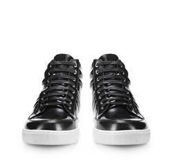 Męskie sneakersy z błyszczącej skóry, grafitowy, 85-M-953-8-40, Zdjęcie 1