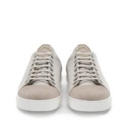 Męskie sneakersy z tkaniny i nubuku, jasny beż, 86-M-050-9-43, Zdjęcie 1