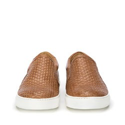 Męskie sneakersy wsuwane z plecionki, brązowy, 86-M-052-4-41, Zdjęcie 1