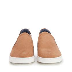 Męskie sneakersy wsuwane z nubuku, jasny brąz, 86-M-601-5-40, Zdjęcie 1