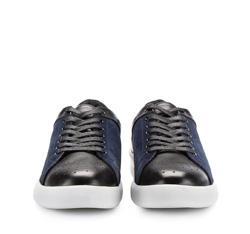 Męskie sneakersy ze skóry, czarno - granatowy, 86-M-811-1-42, Zdjęcie 1