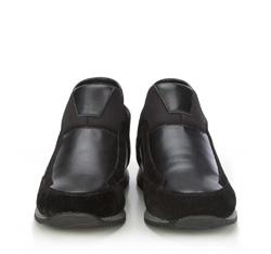 Męskie sneakersy ze skóry wsuwane, czarny, 87-M-928-1-43, Zdjęcie 1