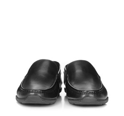 Męskie mokasyny skórzane z gumowym zapiętkiem, czarny, 88-M-906-1-41, Zdjęcie 1