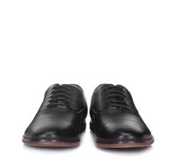 Męskie oksfordy z groszkowanej skóry, czarny, 88-M-915-1-45, Zdjęcie 1