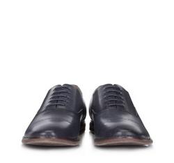 Męskie oksfordy z groszkowanej skóry, granatowy, 88-M-915-7-43, Zdjęcie 1