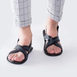 Męskie sandały skórzane z plecionką, czarno - granatowy, 88-M-940-1-41, Zdjęcie 1