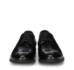 Męskie brogsy skórzane, czarny, 89-M-504-1-45, Zdjęcie 1