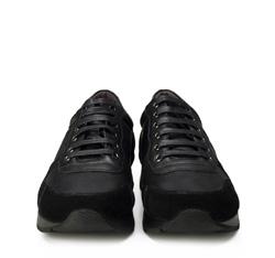 Męskie sneakersy z nubuku i skóry licowej, czarny, 89-M-509-1-40, Zdjęcie 1