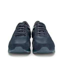 Męskie sneakersy z nubuku i skóry licowej, granatowy, 89-M-509-7-44, Zdjęcie 1