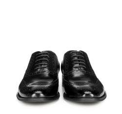 Męskie oksfordy skórzane z perforacjami, czarny, 89-M-906-1-44, Zdjęcie 1