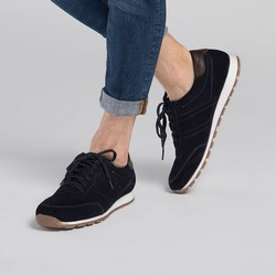 Men's suede lace up trainers, navy blue, 90-M-301-7-43, Photo 1