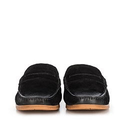 Męskie mokasyny z nubuku z przeszyciami, czarny, 90-M-504-1-39, Zdjęcie 1