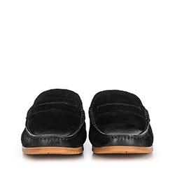 Męskie mokasyny z nubuku z przeszyciami, czarny, 90-M-504-1-40, Zdjęcie 1