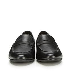 Męskie mokasyny skórzane, czarny, 90-M-518-1-44, Zdjęcie 1