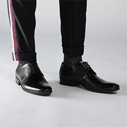 Męskie derby skórzane z drobnymi perforacjami, czarny, 90-M-602-1-41, Zdjęcie 1