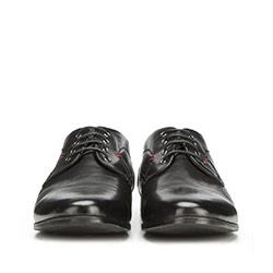 Męskie derby skórzane z przeszyciem, czarny, 90-M-909-1-40, Zdjęcie 1