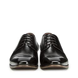 Męskie derby skórzane plecione, czarny, 90-M-910-1-45, Zdjęcie 1