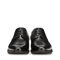 Męskie derby skórzane w drobną kratkę, czarny, 90-M-911-1-42, Zdjęcie 1