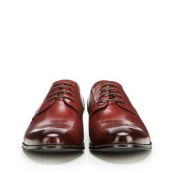 Męskie buty do garnituru z dziurkowaniem, bordowy, 90-M-912-2-44, Zdjęcie 1