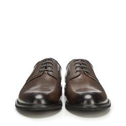 Męskie derby skórzane, szaro - brązowy, 90-M-915-8-43, Zdjęcie 1