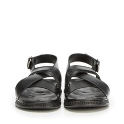 Męskie sandały ze skóry typu rzymianki, czarny, 90-M-917-1-44, Zdjęcie 1